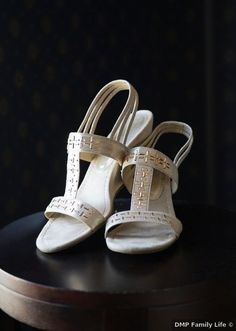 Spring wedding shoes ideas - white, gold, low heel, open toe, rustic, sandal {DMP Family Life}