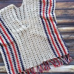 Add this XOXO Summer Crochet Vest to your summer wardrobe for a fun accessory! It has an open, airy design, and creates a nice textured piece. Crochet Cardigan Pattern, Crochet Stitches Patterns, Stitch Patterns, Ribbed Crochet, Easy Crochet, Crochet Hats, V Stitch, Crochet Basics, Single Crochet