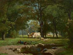 Gerard Bilders - Herders met vee bij een bosbeek 1860ca
