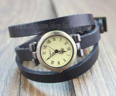 Leather watch women's wrist watch retro style by luckystargift, $9.99