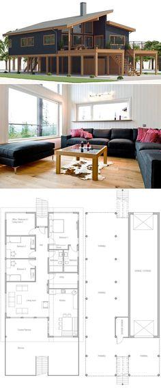 Home Plan, House Plans, Floor Plans Coastal House Plans, Beach House Plans, New House Plans, Modern Floor Plans, Modern House Plans, Modern House Design, Stilt House Plans, House On Stilts Plans, Sims House