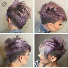 Purple short hair with undercut