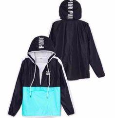 (NEW) Victoria's Secret PINK Half Zip Fleece Lined Anorak in Black/Blue SZ: M/L #VictoriasSecret #Windbreaker