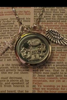 Locket with droplets.