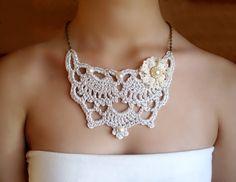 Collar nupcial plata collar boda collar plata por DIDIcrochet