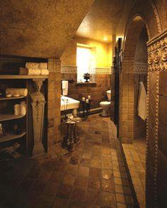 ANN SACKS Terra Cotta mediterranean bathroom.  This is great tile design.  Very old world.
