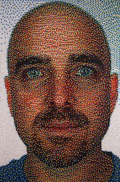 """""""Eric Daigh has broadened his 'pushpin' series with two new pieces entitled 'mayday' and 'throwing blankets'.   the artist creates large-scale artworks, often depicting faces, using thousands of meticulously arranged colored tacks as the chief medium.   the pieces are generated to achieve shading, toning and depth reminiscent to that of a photograph, however, this can only be seen in a   clearer resolution when viewing the work from further away, as each pin acts much as pixel would.""""#art"""