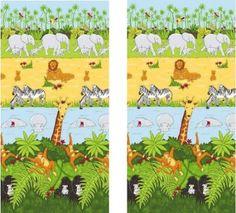 "Jungle Safari Curtains 66"" x 72"" - Cheeky Monkey: Amazon.co.uk: Kitchen & Home"