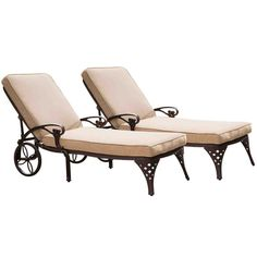 Home Styles Biscayne Set of 2 Black Metal Stationary Chaise Lounge Chair(s) with Taupe Cushioned Seat at Lowe's. Create an intimate conversation area with Home Styles' Pair of Biscayne Chaise Lounge Chairs. Constructed of cast aluminum in a UV resistant, Patio Chaise Lounge, Patio Rocking Chairs, Lounge Chair Cushions, Outdoor Lounge, Patio Chairs, Chaise Lounges, Room Chairs, Outdoor Spaces, Outdoor Living
