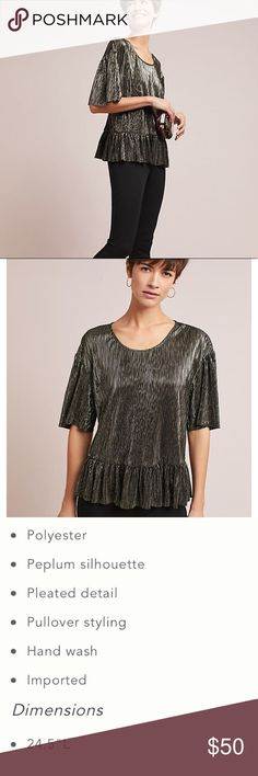 Shine Peplum Tee Eri+Ali for Anthro. Reviews say this fits to size. However, happy to provide measurements upon request. Flows nicely and length is as pictured (I.e. not short). Photo credits to Anthropologie. Accessories not included.   Have a question? Please ask before purchasing. Anthropologie Tops Blouses