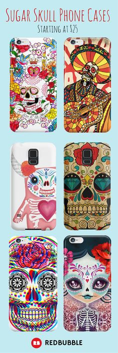 Celebrate Dia De Los Muertos every day with these sugar skull phone cases starting at $25. #diadelosmuertos #sugarskull #halloween