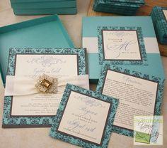 Elegant and Romantic mint & charcoal box wedding invitations.
