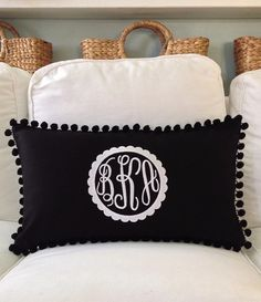 Monogrammed Pique Pom Pom Pillow Cover by peppermintbee on Etsy