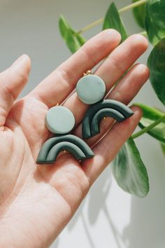 Dec 29, 2018 - NEW pastel green and dark green arch shaped glittery polymer | Etsy Diy Clay, Handmade Polymer Clay, Etsy Earrings, Earrings Handmade, Handmade Jewelry, Best Friend Gifts, Gifts For Friends, Tarnish Remover, Polymer Clay Earrings