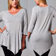 Asymmetrical hem line with pockets. Lighter weight jersey material with stretch.