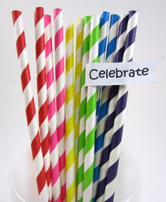 25 Rainbow Party, Sweet Shoppe, Candy Land, Multicolored Striped Paper Straws: Eco-friendly, Biodegradable