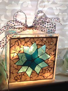 Frozen mosaic glass block back