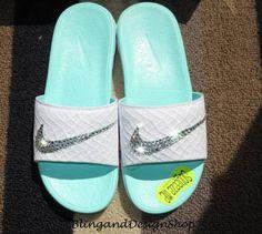 2ae622ed3 Swarovski Bling Nike Women s Solarsoft Nike Shoes Benassi Sandals Custom  with Swarovski Crystal Rhinestones