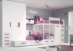 Muebles para una fiesta de pijamas. Literas de la colección Ringo de Kibuc con cama nido. Aquí pueden dormir 3 niños.