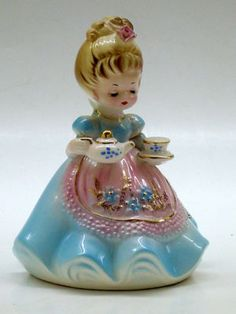 """OLDER JOSEF ORIGINALS """"GIRL WITH TEAPOT AND CUP"""" FIGURINE. My friend, Jenna, collects these sweet little girls."""