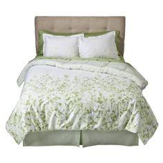 green and white $99.99 King comforter set