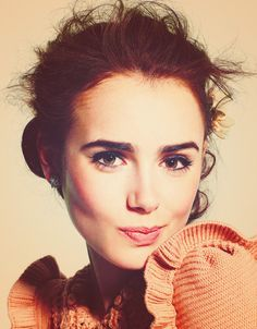 lilly collins-- love her makeup and cute eyebrows
