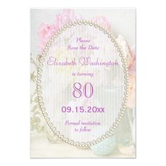 Romantic Roses in Jars 80th Save The Date Announcement