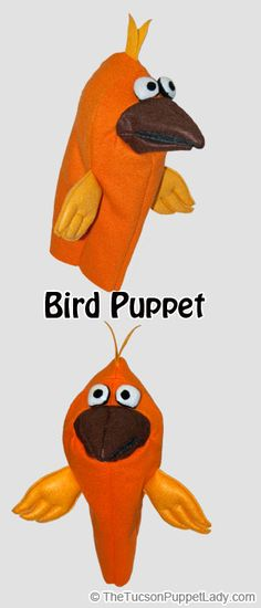 Bird hand puppet sewing pattern available from Craftsy for $5. Made from fleece, felt and foam.