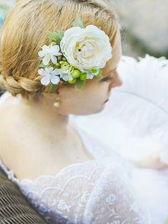 bridal flower hair clip, ivory wedding hair accessories, cream flower hair accessory, green bridal headpiece, berries