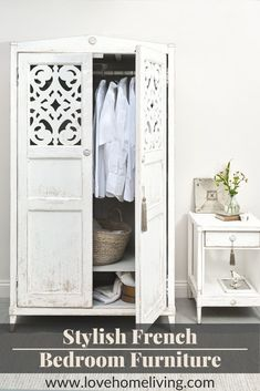 This beautiful Atelier wardrobe and bedside table are sure to add a touch of French country charm to your bedroom. With matching pieces available including beds and chests of drawers, you can create an elegant French bedroom of your very own. Free delivery UK wide. #Frenchbedroom #vintagebedroom #shabbychic #designbedroom Boys Bedroom Paint, Boys Bedroom Themes, Boys Bedroom Furniture, Modern Bedroom Decor, Bedroom Vintage, Bedroom Styles, French Style Decor, French Country Bedrooms, Luxurious Bedrooms
