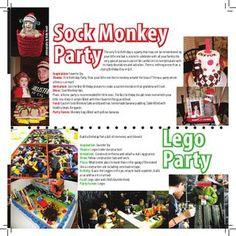 Sock Monkey Leggo Birthday Ideas Sock Monkey Party, Monkey Monkey, 6th Birthday Parties, Birthday Ideas, Legos, February, Prom, Magazine, Kids