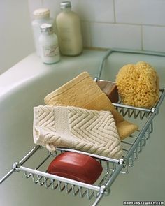 Washcloth Mitt  For a generous source of lather and to put an end to searching for the soap on the bottom of the tub, slip a soap bar into a pocket made from a luxurious terry washcloth