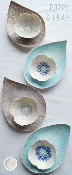 Porcelain poppy bowl and leaf platter sets by Vani. - Porcelain poppy bowl and leaf platter sets by Vani. Pottery Tools, Slab Pottery, Ceramic Pottery, Pottery Plates, Ceramic Poppies, Ceramic Flowers, Ceramic Plates, Ceramic Art, Porcelain Ceramics
