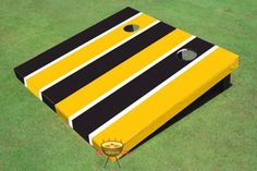 Yellow and Black Alternating Long Stripe Corn Hole Boards *** You can get additional details at the image link.(It is Amazon affiliate link) #30likes