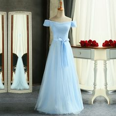 Charming Long Light Blue Ruched Off The Shoulder Tulle Prom Dresses With Belt Bowknot