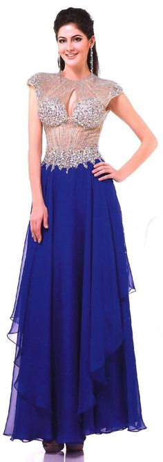 Prom Dresses Evening Dresses<BR>8117<BR>Illusion sheer cap sleeve bodice embellished with large stones and bead work