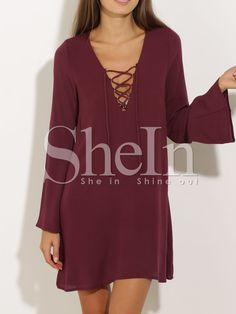 Shop Wine Red Lacing Long Sleeve Designs Lace Up Dress online. SheIn offers Wine Red Lacing Long Sleeve Designs Lace Up Dress & more to fit your fashionable needs.