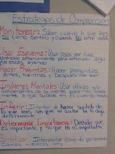 Comprehension strategies chart in Spanish
