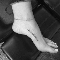 40 Minimalist One-Word Tattoo Ideas That Are Beautiful On Every Woman - tattoos - Minimalist Tattoo Small Foot Tattoos, Foot Tattoos For Women, Cute Small Tattoos, Trendy Tattoos, Tattoos For Guys, Cute Foot Tattoos, Faith Foot Tattoos, Tattoo Placement Foot, Hidden Tattoos