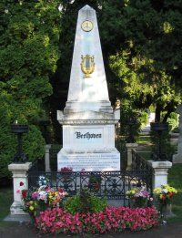 Beethoven's gravestone in Vienna Austria, the city's main cemetery - Zentralfriedhof.  He rests nearby many other classical music composer greats.