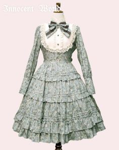 Antique Doll Dress Onepiece by Innocent World in blue gray
