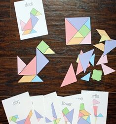 DIY paper puzzle game – free printable tangram & challenge cards // Form puzzle game from paper simply – tangram (printable) // Mindy – craft tutorial collection // Fun Activities For Kids, Puzzles For Kids, Tangram Printable, Papier Diy, Paper Games, Diy Christmas Cards, Christmas Ideas, Diy Games, Kids Cards