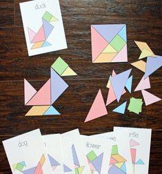 DIY paper puzzle game - free printable tangram & challenge cards // Forma kirakó játék papírból egyszerűen - tangram (nyomtatható) // Mindy - craft tutorial collection // #crafts #DIY #craftTutorial #tutorial