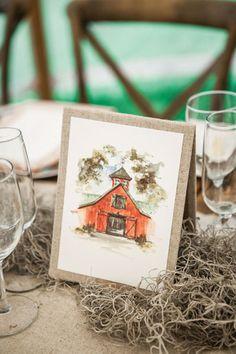 pretty watercolor table numbers | Ashley Seawell #wedding