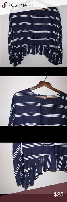 Zara Striped Fashion Top Never worn, without tags. Striped top with ruffle femme details. Zara Woman - Premium Denim Collection Zara Tops Blouses