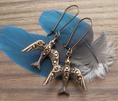 Dorado Bird Dangle Earrings Bronze Rhinestone Brass Ox Drops on Niobium Ear Wires