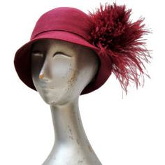 20's Burgundy Cashmere Felt Cloche w/ Ostrich Pouf  I have this only in black its my Stevie hat.........