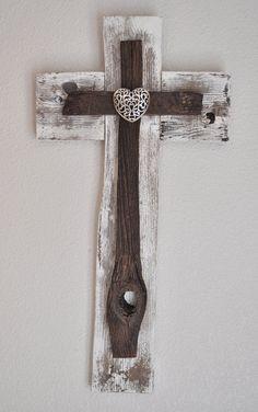 Rustic White Heart Cross -One of a kind reclaimed wood cross, Beach decor, shabby chic decor, western style cross,western style decor