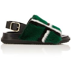 "Crafted of black smooth leather, Marni's slingback sandals are trimmed at vamp with emerald, white, and black plaid mink fur. 0.75""/20mm midsole (approximatel…"
