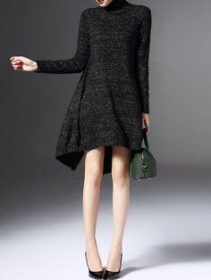 LONYUASH Asymmetric Cashmere Sweater Dress